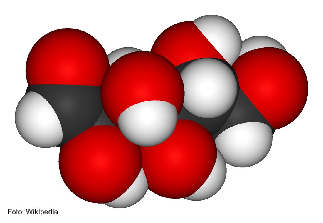 Representación gráfica de la molécula de la glucosa.