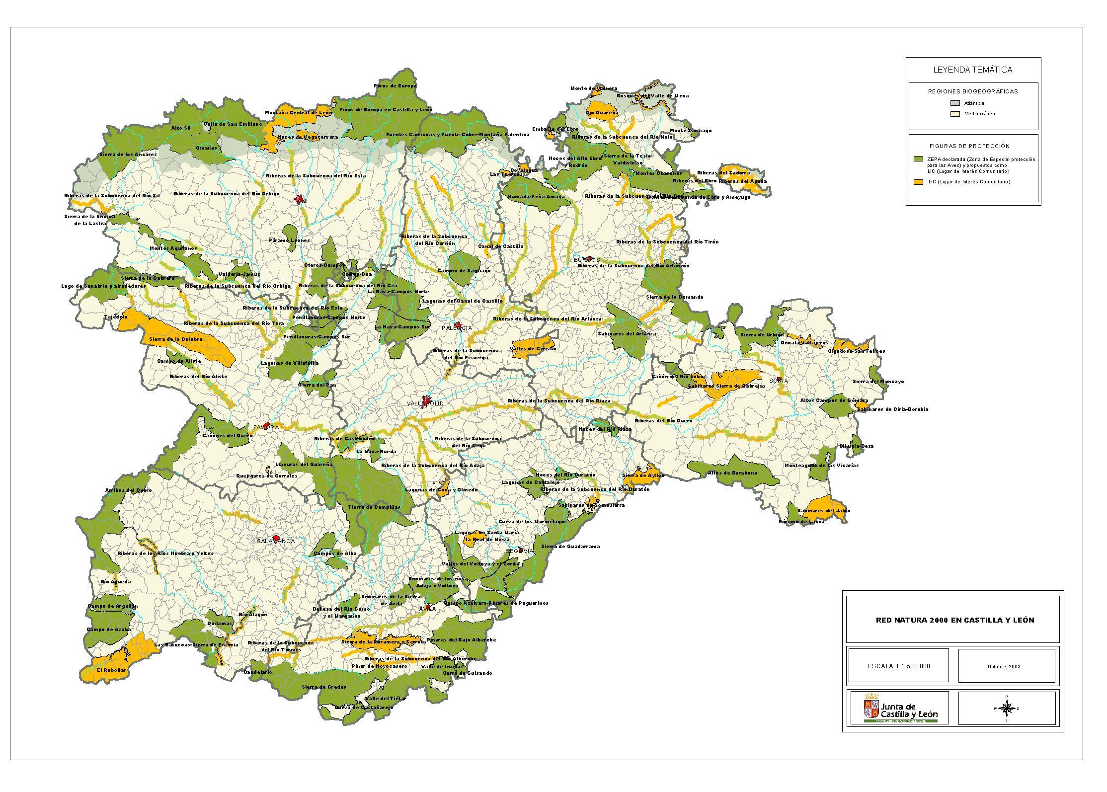 Mapa de las zonas zepas y lics en castilla y le n fuente for Oficina turismo castilla y leon