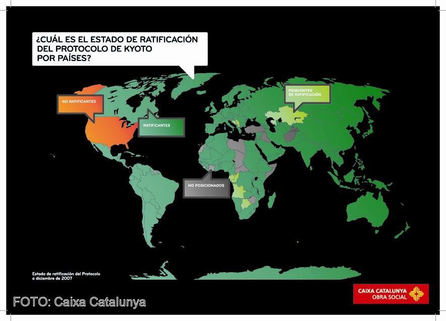 Países ratificantes del Protocolo de Kyoto.